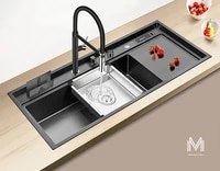 asras 11850nk black nano large kitchen sink with faucet 304 stainless steel long sink set