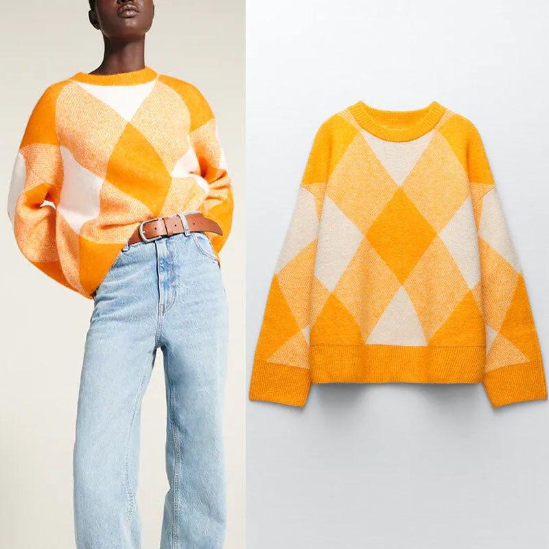 Женский жаккардовый свитер с длинным рукавом, с круглым вырезом