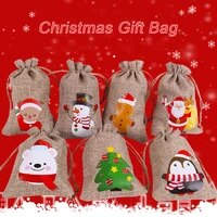 cotton linen drawstring bag jute jewelry packaging gift pouch christmas wedding party candy storage bag
