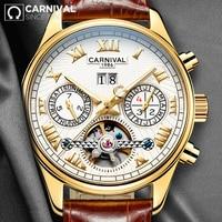 Автоматические механические мужские часы CARNIVAL Relogio Masculino, водонепроницаемые наручные часы с календарем, неделей и кожаным ремешком, мужские...