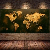 black gold world map posters wall art pictures decorative canvas painting for living room decorations paintings home decor