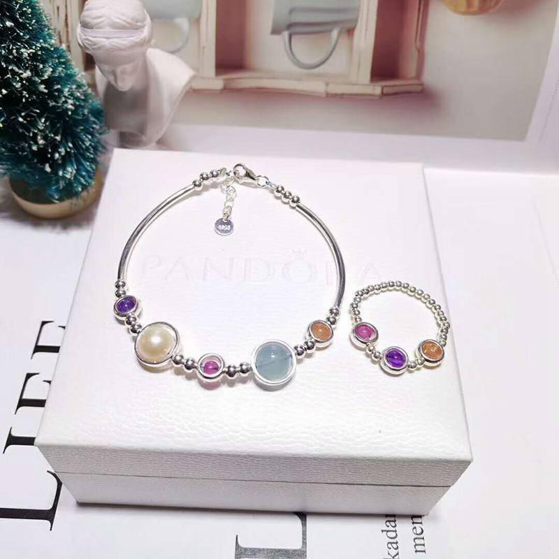 Ruifan 2020 New Style Aquamarine Pearl Crystal Bracelet Ring Sets Silver 925 Jewelry Set Girls Women Ensemble Bijoux Gift YJS001