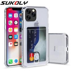 Para o iphone 12 11 Pro Slot Para Cartão Max XR XS MAX X Crystal Clear Silicone Suave Caso Capa Para iphone8 7 plus 6s plus TPU macio coque