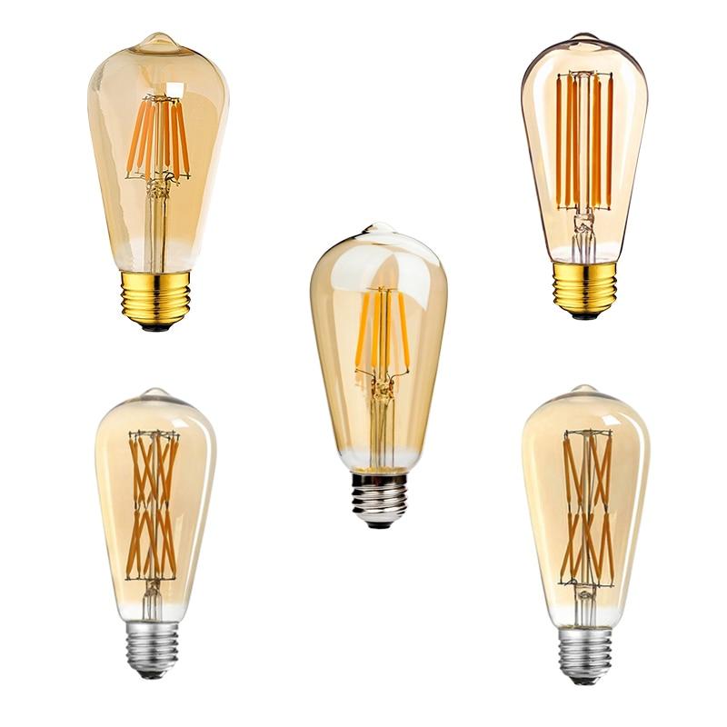 ST64 винтажная Светодиодная лампа накаливания E27 4 Вт 6 Вт 12 Вт 16 Вт светодиодсветильник ПА Эдисона желтая Золотая стеклянная антикварная форм...