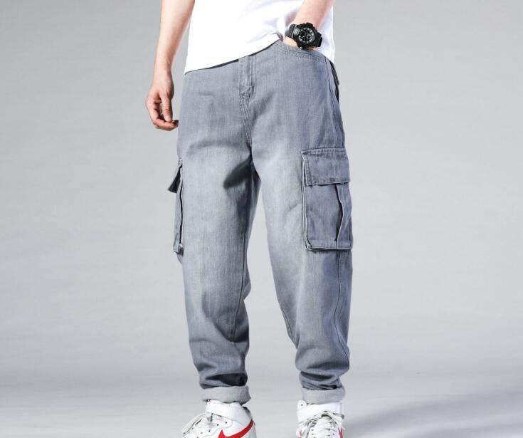 بنطلون جينز رجالي مقاس كبير ، بنطلون تزلج ، هيب هوب ، ملابس هيب هوب ، بنطلون طويل ، 30-46