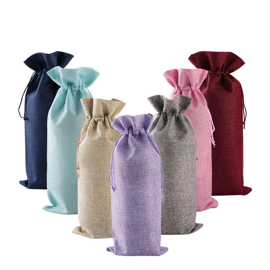¡Novedad! 10 Uds. De bolsas de yute para vino, tapones para botellas de vino tinto, bolsa de champán, bolsa de embalaje de arpillera, decoración para fiestas de cumpleaños y bodas FW3