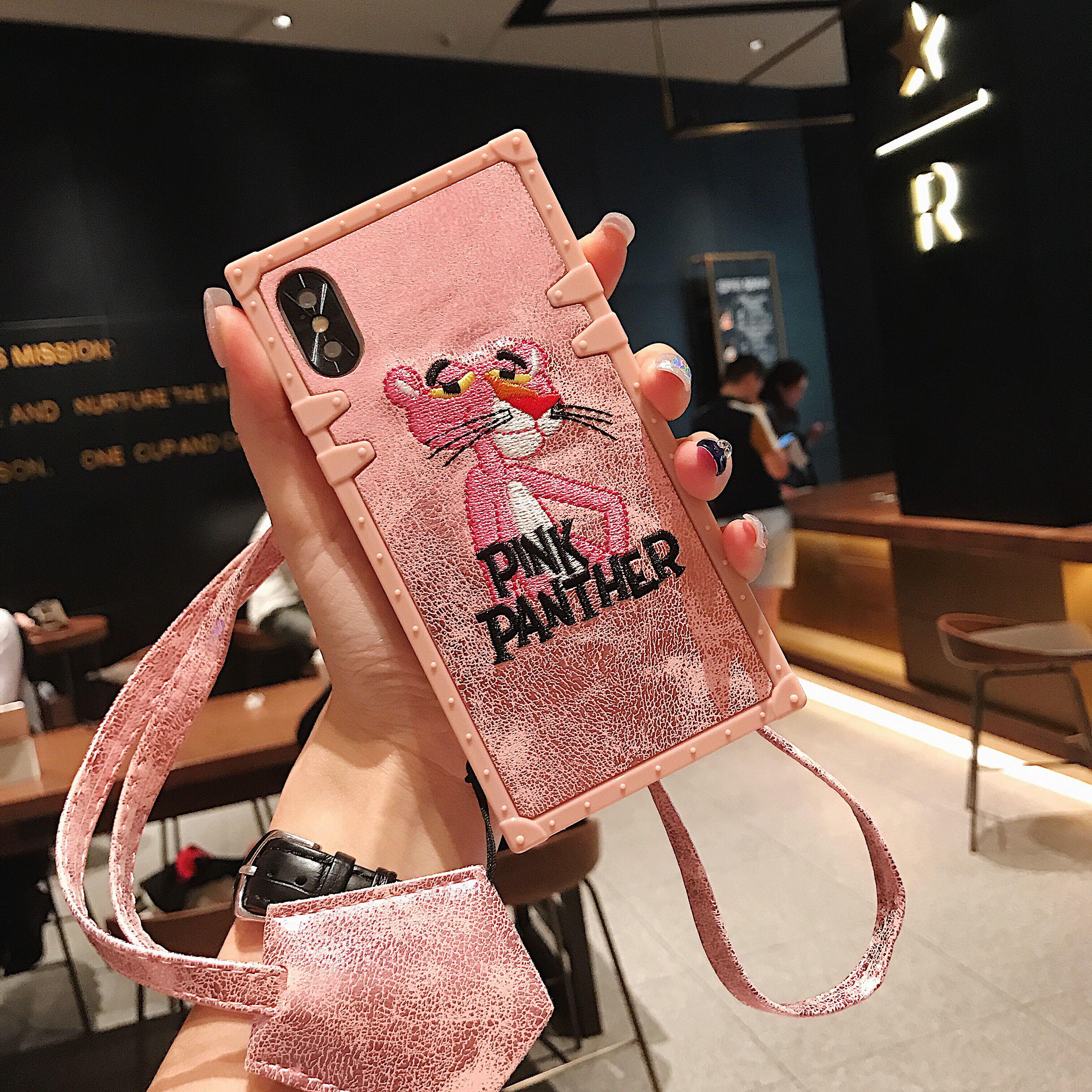 Funda de teléfono de TPU con foto de animal cuadrado de lujo 11 Pro MAX X XS MAX XR 6 6S 7 8 Plus con cordón para Samsung S9 S10 Note9 cubierta