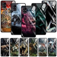 tempered glass cover for samsung galaxy a51 a71 a91 a72 a52 a81 a41 a31 a21 a21s m51 m31 m21 shell case jurassic dinosaurs