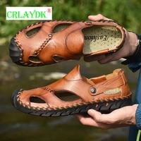 crlaydk plus size men leather sandals closed toe outdoor beach summer shoes casual fisherman slippers roman sport flat slides