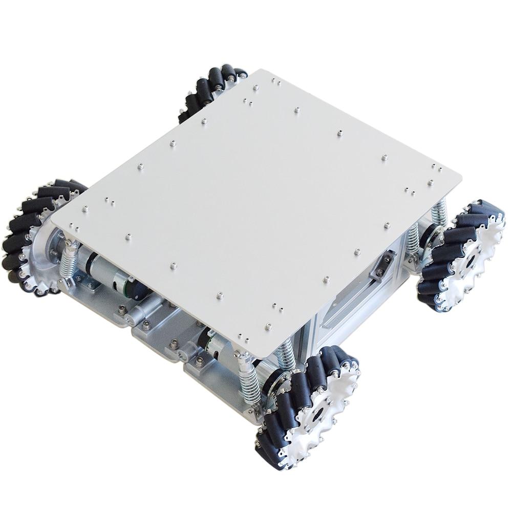 40 كجم تحميل امتصاص الصدمات Mecanum عجلة سيارة روبوت هيكل عدة مع 4 قطعة محرك ترس تعشيق كوكبي لاردوينو STM32 التوت بي