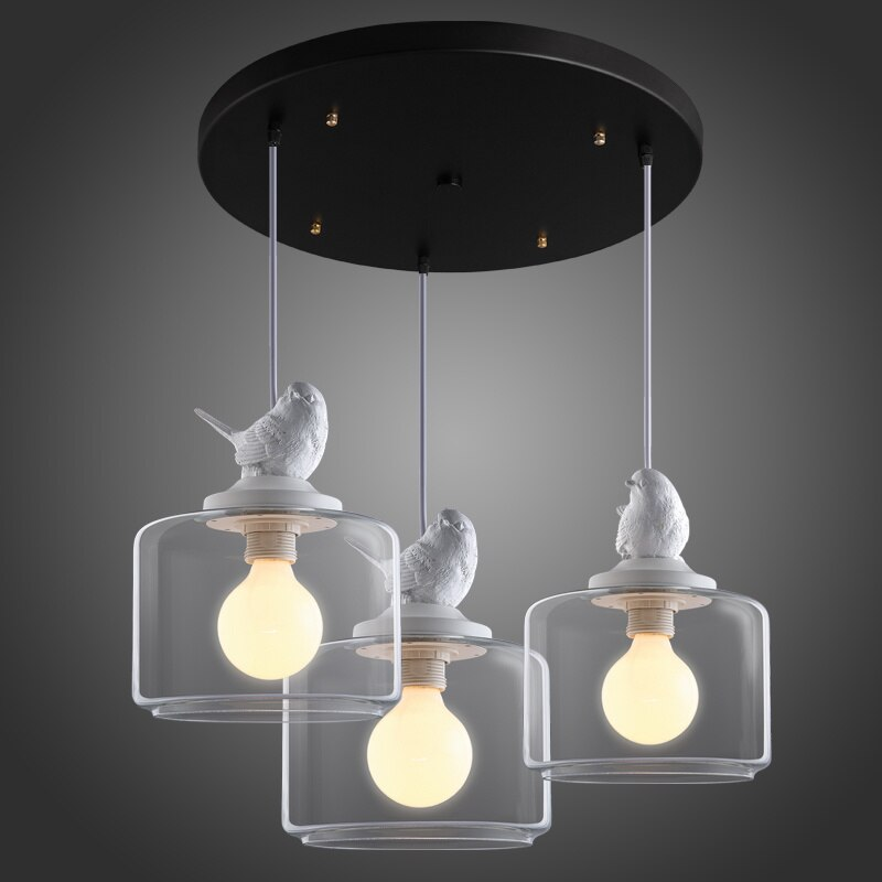 Design Restaurant Bar luminaire suspendu créatif chambre denfants balcon verre oiseau Lustre Lustre suspension E27