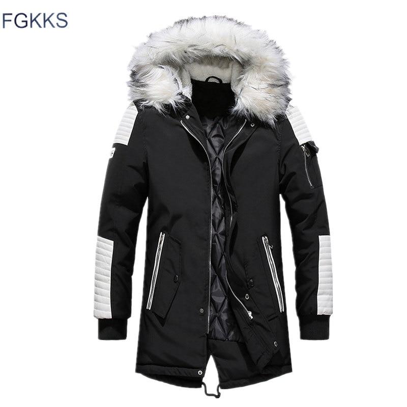 FGKKS Men Parka Cotton Thick Jacket 2020 Winter New Warm Fashion Fleece Jackets Coats Fur Collar  Men's Parkas