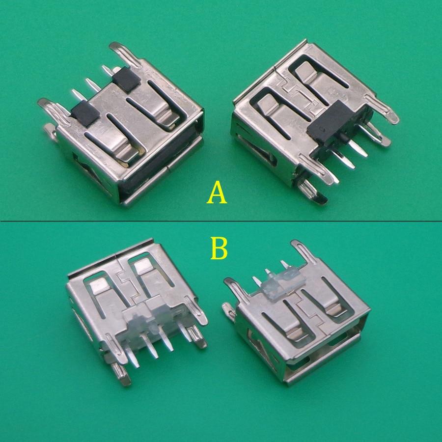 100 قطعة/الوحدة نوع شقة زاوية 180 درجة الإناث USB PCB موصل مقبس USB جاك التوصيل usb 2.0 جاك 4pin 4 دبوس الأسود/الأبيض