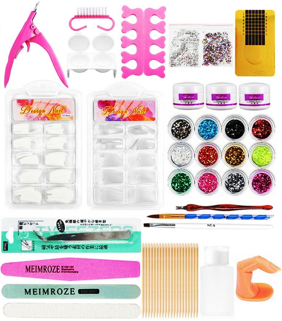 Kit de manicura para uñas acrílicas, 12 colores, decoración en polvo brillante, Kit de pinceles de acrílico, Kit de herramientas para manicura