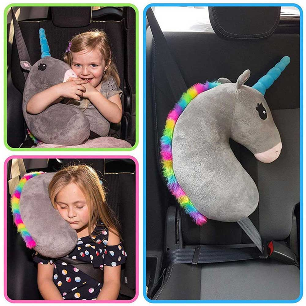 Baby Kid Travel Unicorn Pillow Children Head Neck Support Protect Car Seat Belt Pillow Shoulder Safety Strap Cute Animal Cushion