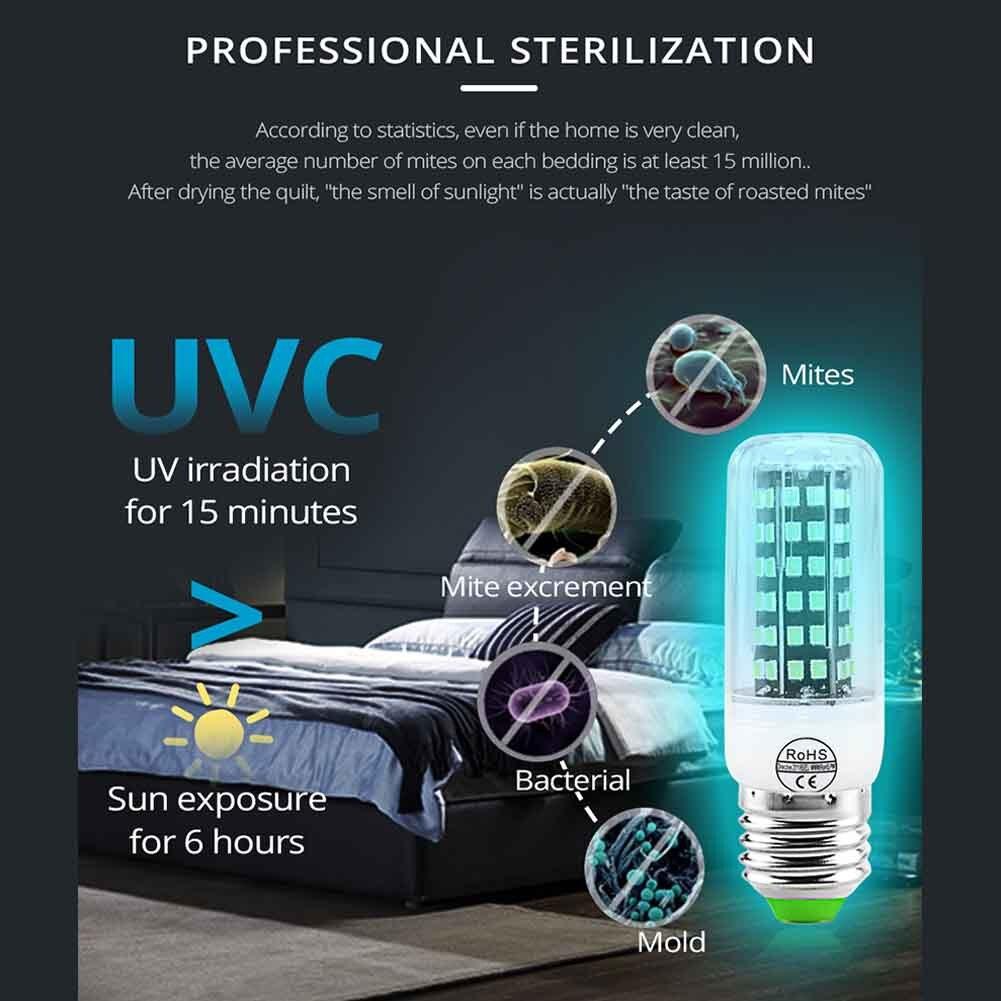 LEDs Desinfektion Glühbirne UV Licht Schlafzimmer Krankenhaus Mais Form UVC Entkeimungslampe