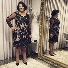 On Sale Elegant Black Short Mother of the Bride Dresses Lace Long Sleeves V Neckline Wedding Party D