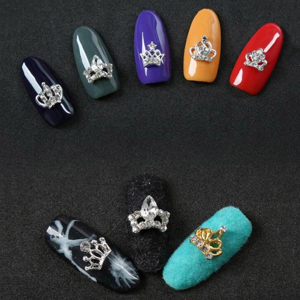 Купить с кэшбэком 10Pcs/lot 3D Nail Art Rhinestones Metal Silver/Gold Crown Glitter Nails Charms Crystal Diamonds For Manicure Jewelry Decorations