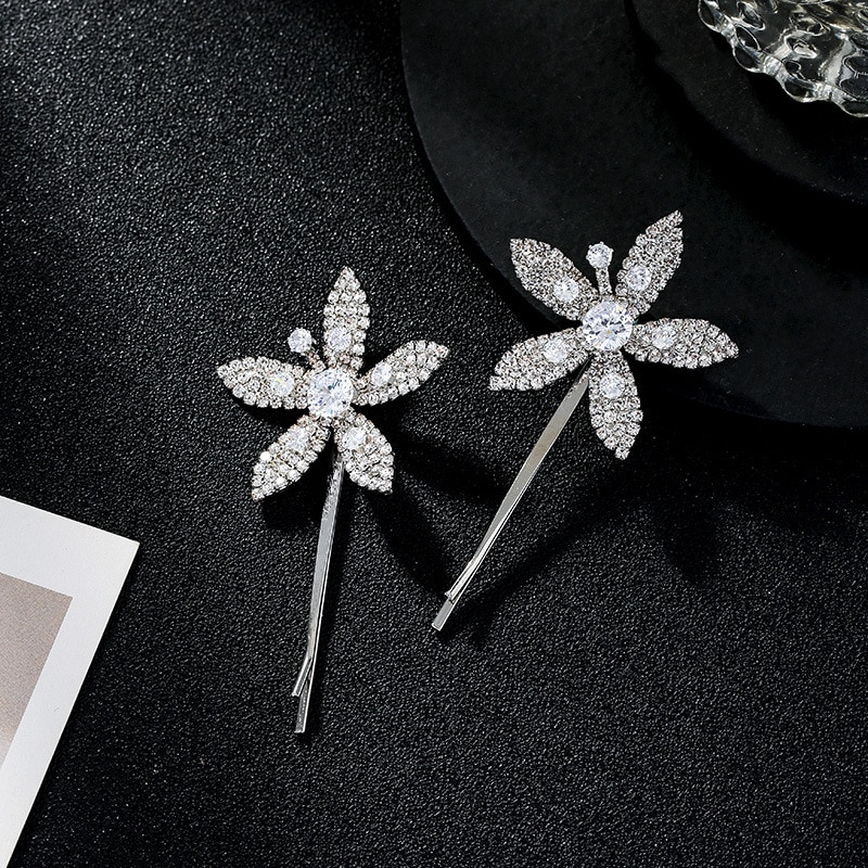TIMEONLY Elegant Bling Rhinestones Flower Hair Claws Beautiful Wedding Gifts Hairbands for Women Ladies Hairwear Floral Jewelry