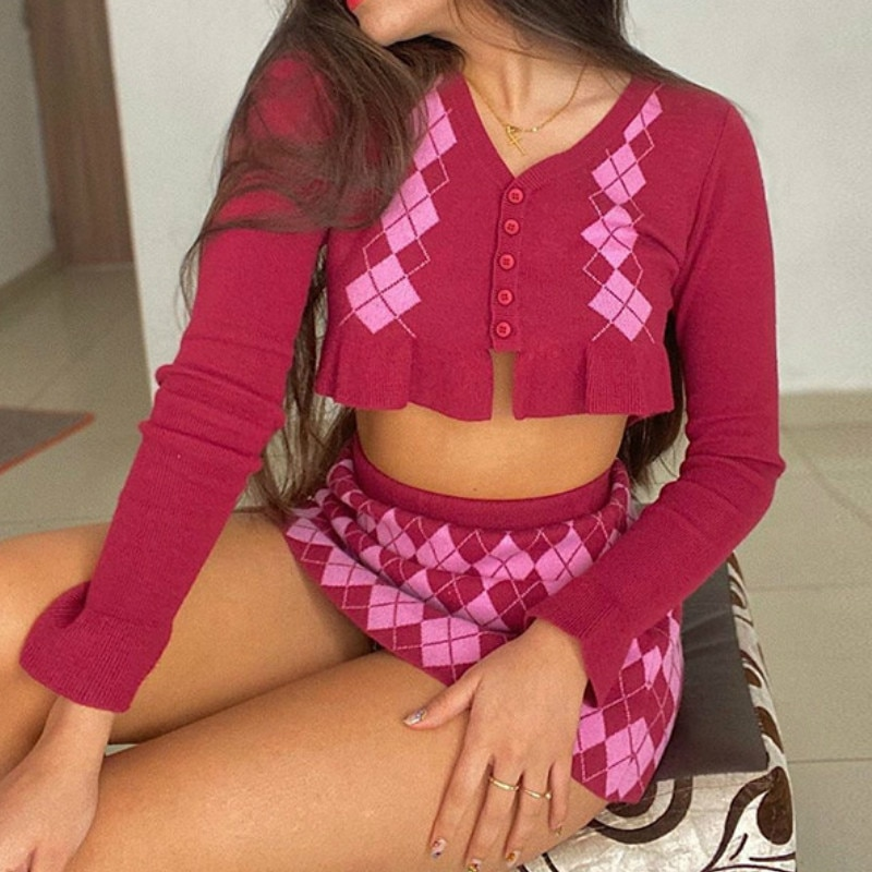 Short Pink Argyle Y2K Knitted Cardigan Women Autumn Plaid Ruffle Crop Top Sweater Ladies Fashion V Neck Vintage Jumper Female
