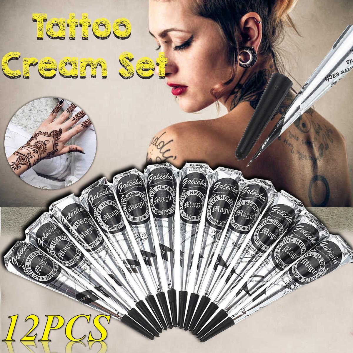 12Pcs 25g Golecha Natural Mehndi Henna Cones Indian Henna Tattoo Paste For Temporary Tattoo Sticker Mehndi Makeup Body Paint