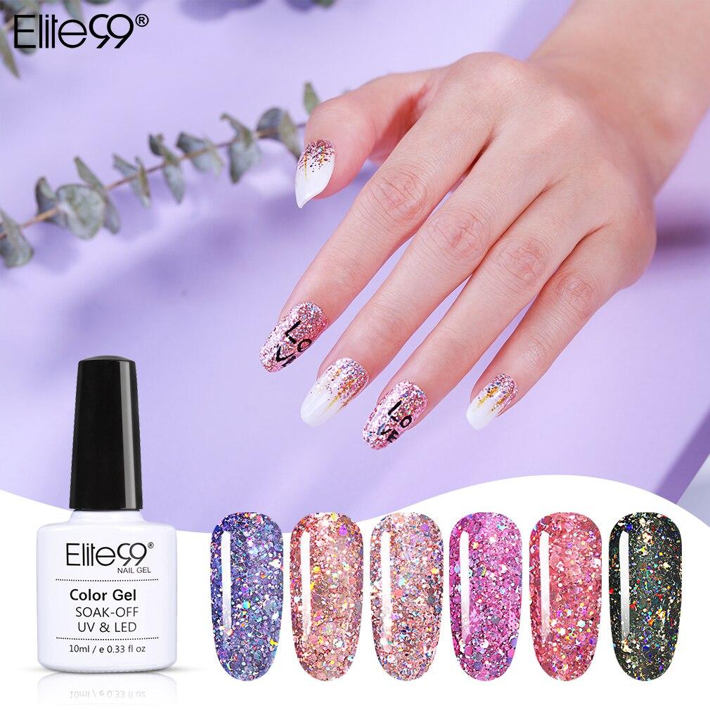 Elite99 láser plata Gel esmalte de uñas Soak Off UV LED uñas barniz salón manicura 10ML Primer Base superior orgánica uñas Gel barniz
