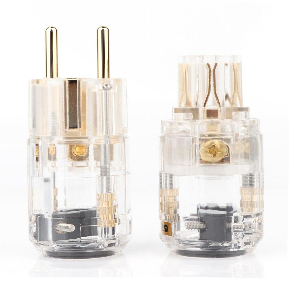 Enchufe macho chapado en oro de 24K, conector IEC hembra, enchufe Schuko HI-End, versión europea, enchufes de alimentación para cable de alimentación de audio 24K chapado en oro M