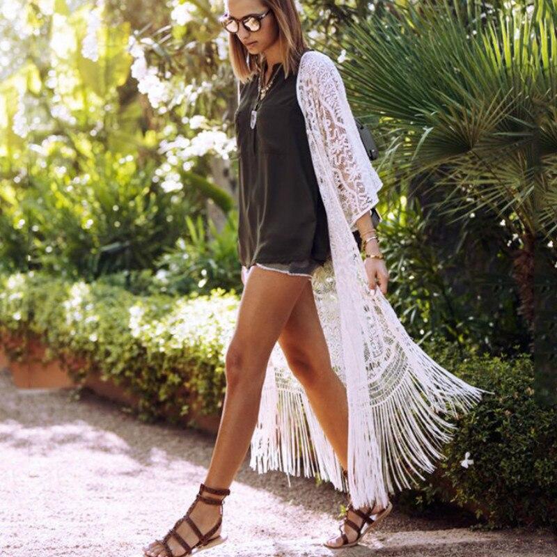 TEELYNN chic franja de encaje y borlas bikini cubrir mujeres maxi vestidos boho beach wear verano robe kimono ver a través de blusas largas