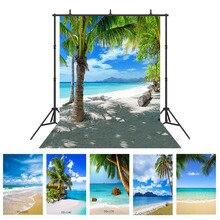 Фон для фотосъемки с изображением морского побережья пляжа пальмы для студийной фотосъемки реквизит для свадьбы детей малышей виниловый тканевый фон для фотосъемки