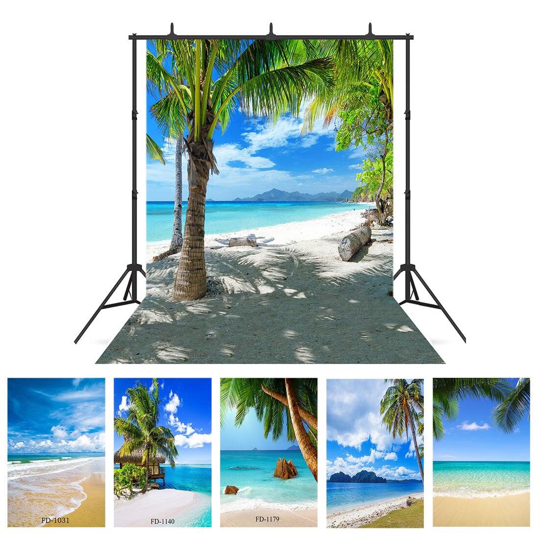 Playa de la playa palmera de fondo fotográfico para fotos Shoot Props boda niño paño de vinilo foto de fondo fotomatón