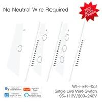 110V 220V US Version WIFI   RF433 Neutral Smart Switches Single Fire Smart Home Smart Life Tuya App Works With Alexa Google Home