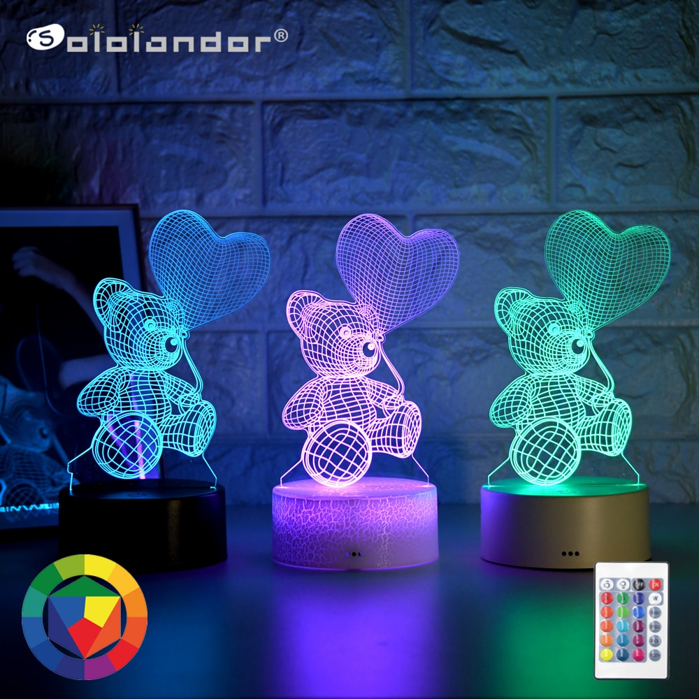 Newest Kid Light Night 3D LED Night Light Creative Table Bedside Lamp Romantic Heart Bear light Kids Gril Home Decoration Gift kids light night 3d led night light creative table bedside lamp unicorn light kids home decoration toys gift 3d led lamp 7 color