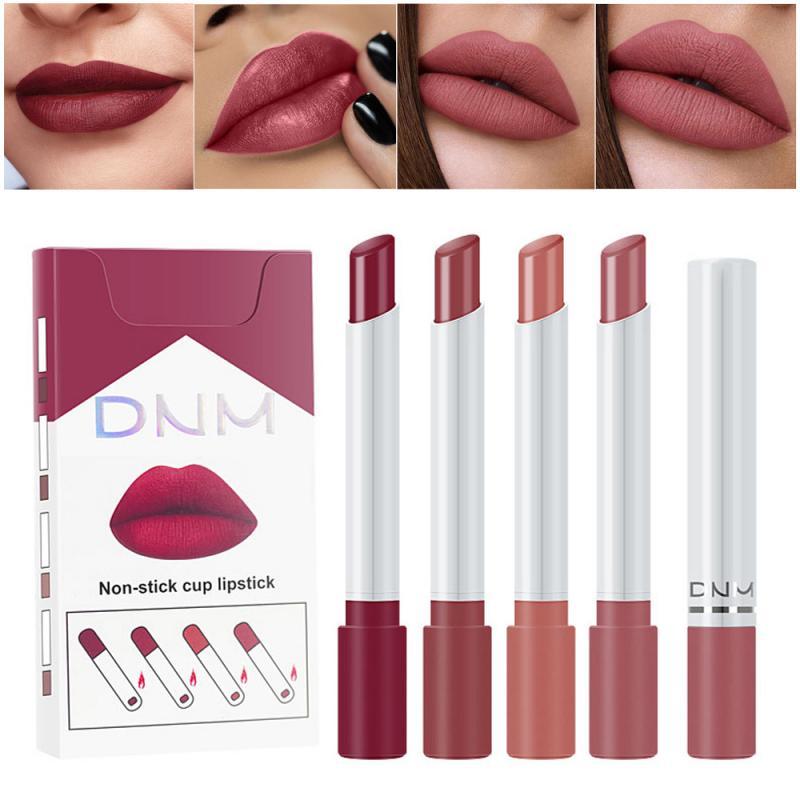 4PC/1 Set Zigarette Form Lippenstift Set Matte Sexy Rot Samt Lip Kosmetische Langlebig Wasserdicht Nicht-stick lippenstift Set Make-Up TSLM1