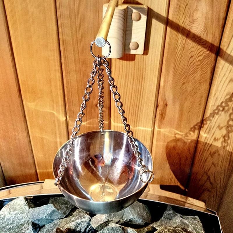 2 قطعة ساونا الروائح وعاء النفط ساونا كوب الفولاذ المقاوم للصدأ وعاء حامل زيت طبيعي ل ساونا و سبا ساونا اكسسوارات