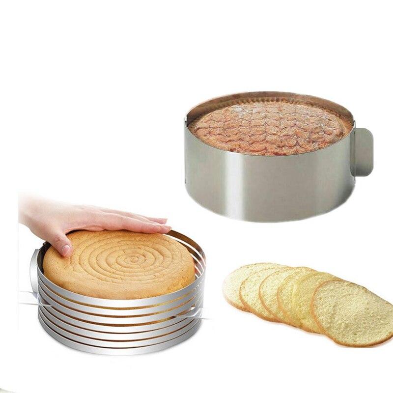 Cortador de torta ajustable de 6-9 pulgadas molde de Mousse molde de torta cortador de forma redonda rebanador de pan molde para hornear