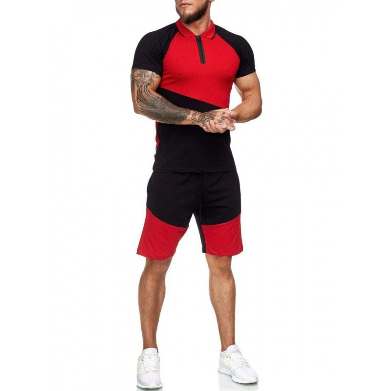 Mens Summer Leisure Sports Color Stitching Shirt Shorts Two-piece Outdoor Fitness Cropped Top Cotton T-shirt Breathable 2021