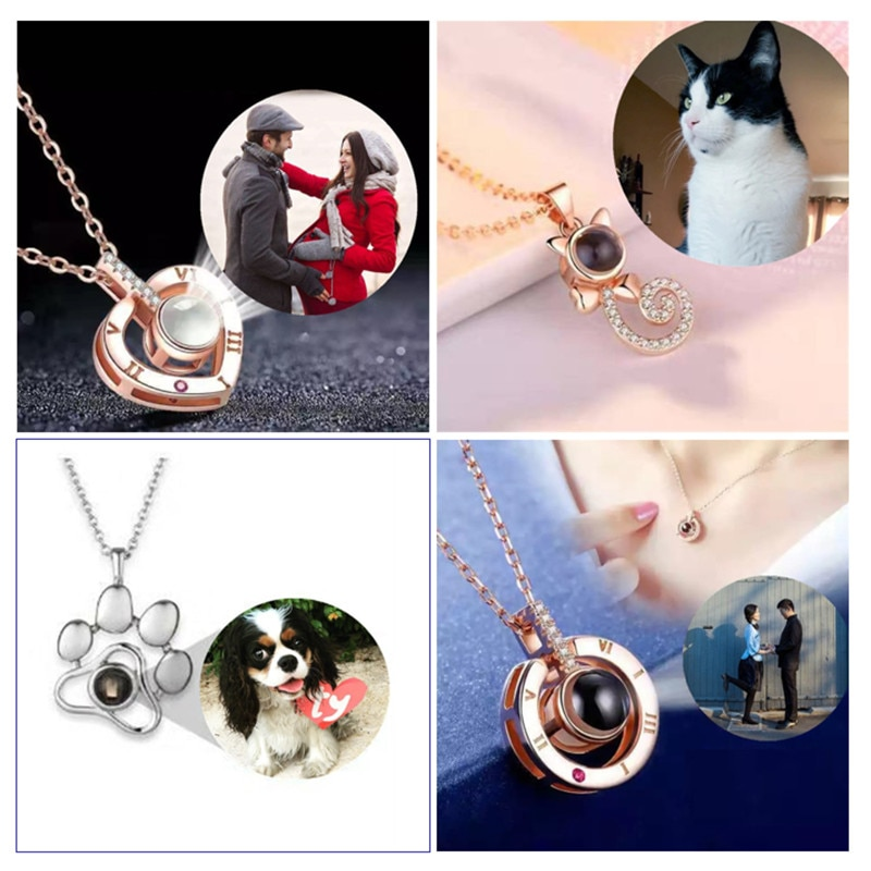 swarovski aila day heart 5242514 Valentine's day Gifts Custom Heart Projection Necklace Heart Paw Cat Pendant Projection Necklace Jewelry Love Memory Gifts