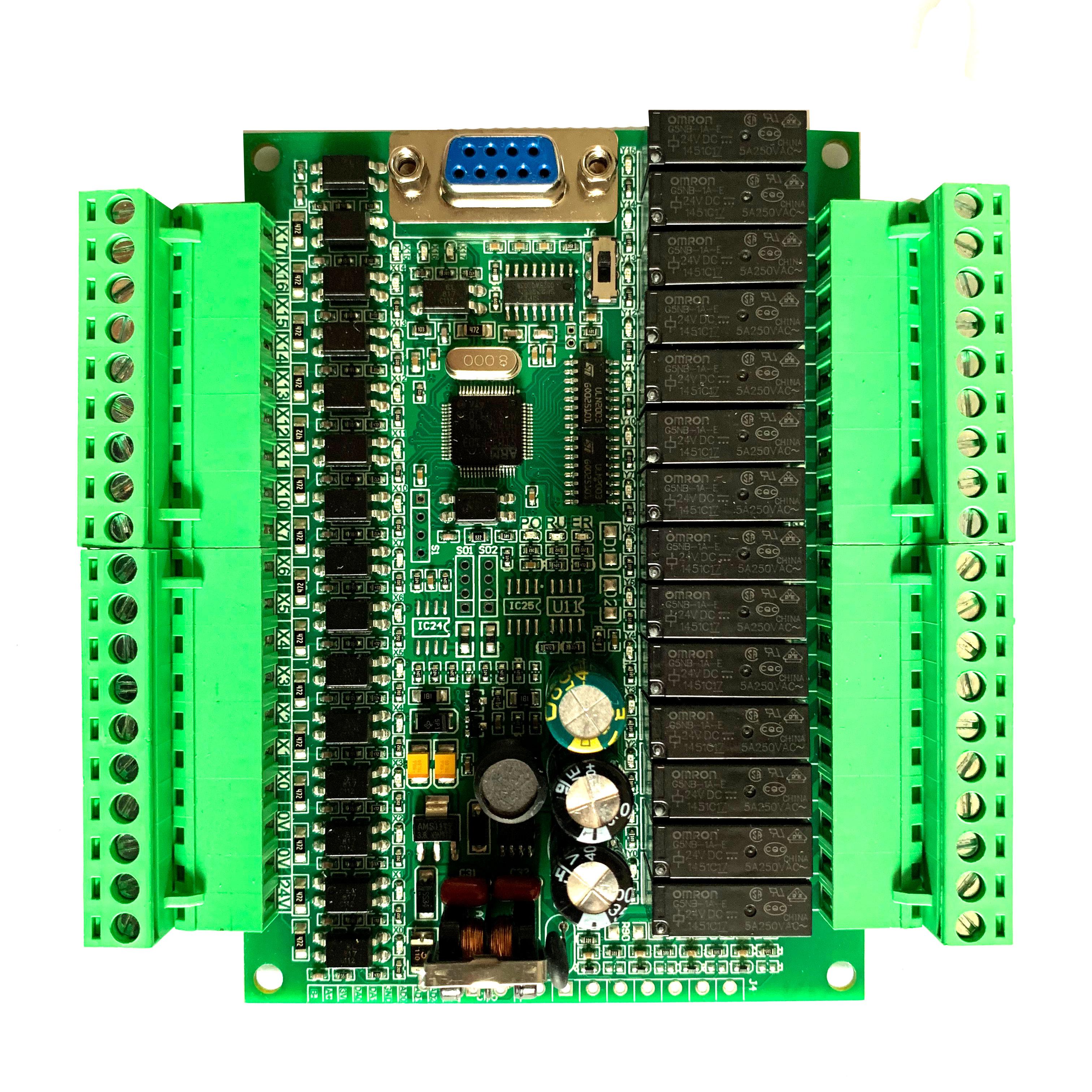 Plc وحدة تحكم منطقية قابلة للبرمجة لوحة واحدة plc FX2N 30MR مراقب على الانترنت plc ، STM32 MCU 16 المدخلات 14 الإخراج