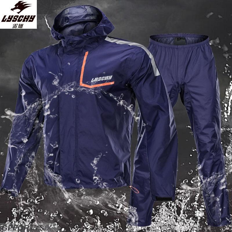 Lyschy мотоциклетная куртка + штаны, костюмы из чистого кожзаменителя, водонепроницаемый плащ, костюм для рыбалки, высокое качество, YKK, мужская...