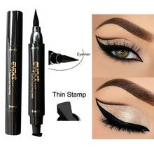 Hot 2-en-1 Double-tête joint noir Eyeliner Triangle joint Eyeliner étanche yeux faire kit avec Eyeliner stylo Eyeliner timbre