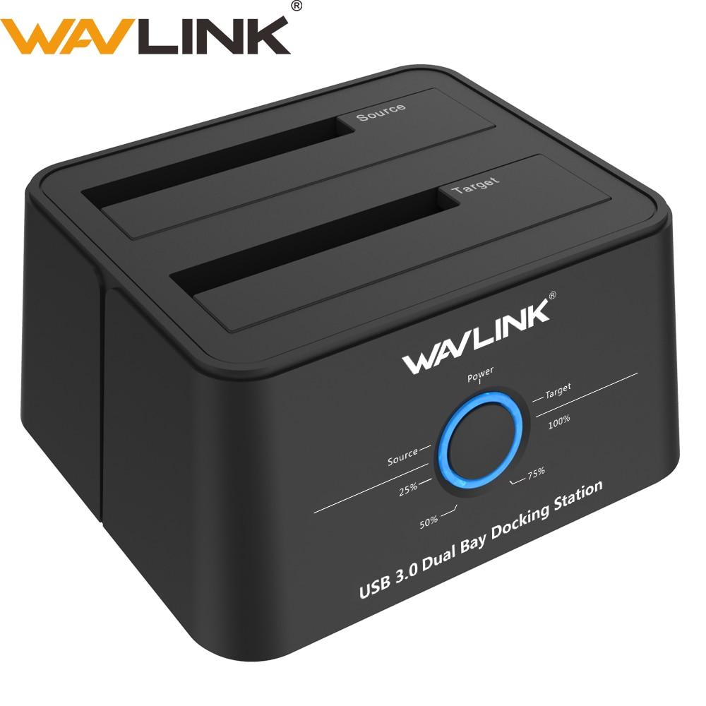 """Wavlink 2,5 """"3,5"""" USB 3,0 SATA disco duro externo estación de acoplamiento Dual Bay caja de disco duro externo para 2*8 TB HDD SSD funda"""