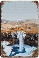 iceland waterfall artwork poster 1 tin sign vintage metal pub club cafe bar home wall art decoration poster retro