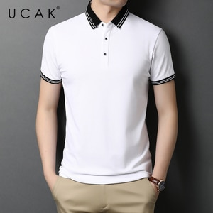 UCAK Brand Classic Solid Color Turn-down Collar Short Sleeve T-Shirts Summer New Streetwear Casual Cotton T Shirt Homme U5520
