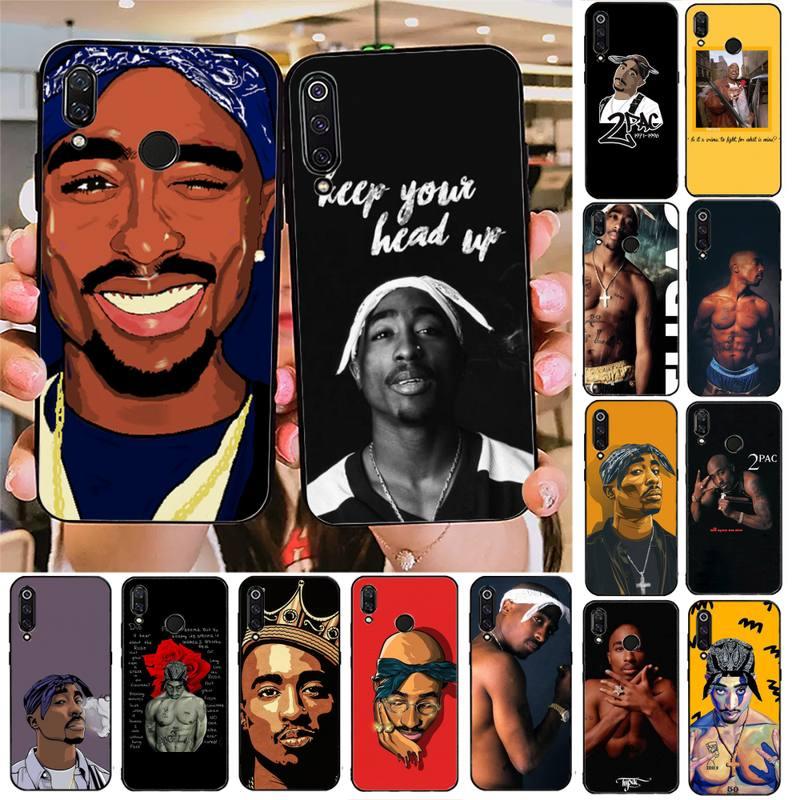 Toplbpcs rapper 2pac tupac1 preto caso de telefone casco para redmi nota 8pro 8t 9 redmi nota 6pro 7 7a 6 6a 8 5plus