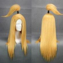 Akactuki Wigs Deidara Cosplay Wig Long Gold Heat Resistant Synthetic Hair Wig + Wig Cap
