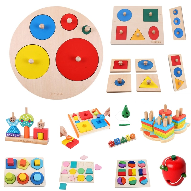 Wooden Geometric Shapes Sorting Math Montessori Puzzle Colorful Preschool Learning Educational Game Baby Toddler Toys