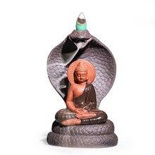 Wierook-N-Wish Boeddhisme Decoratie Terugstromen Wierook Brander Houder Budda Cobra Handgemaakte Klei Geglazuurd Yoga Home Decor Dropshipping
