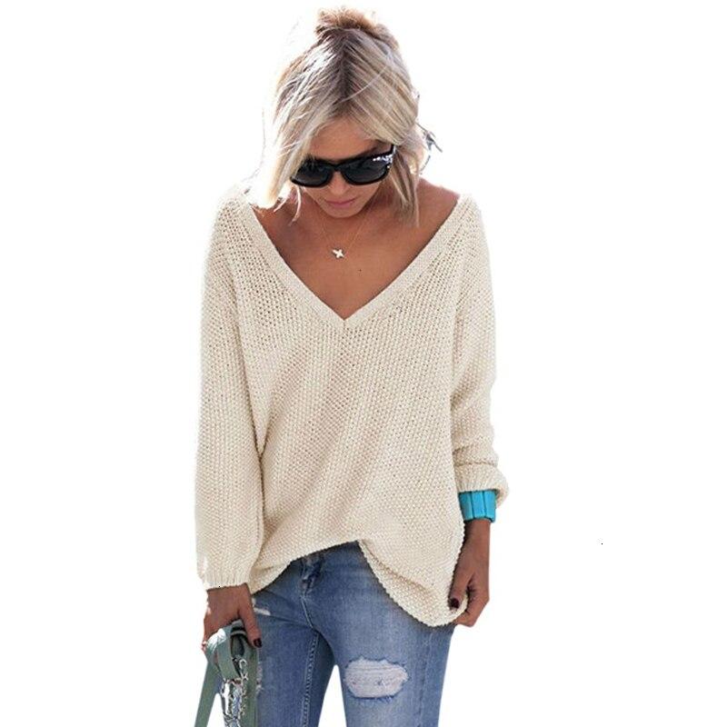 Casual se Trui mujeres Streetwear V-cuello largo Mouwen Truien suelto efectos que se utilizan Jas 2019 recuperado de las mujeres de invierno Trui