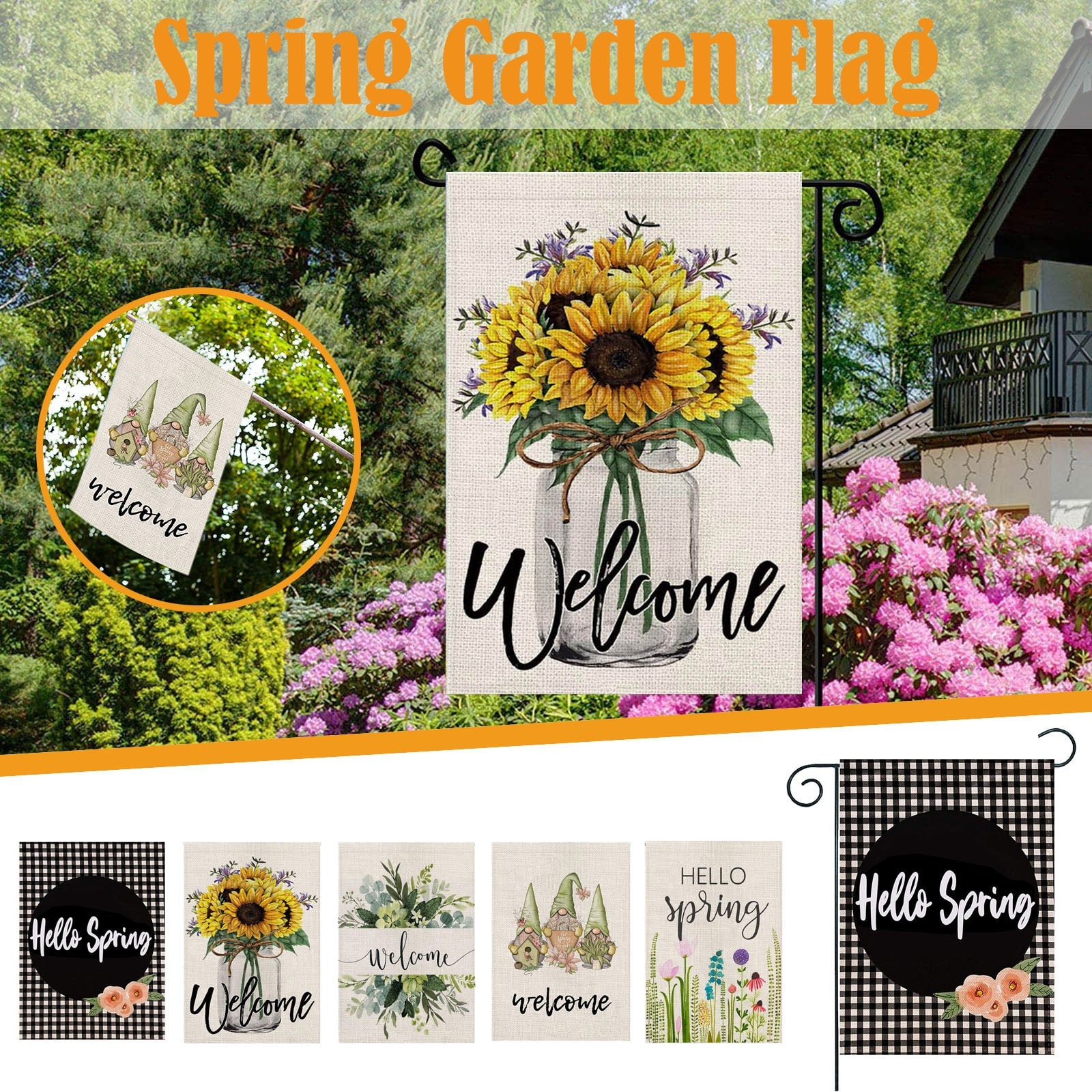 Spring Welcome Flowers Happy Holiday Decoration Banner Garden Flag For Outdoor Front Porch Home Deco