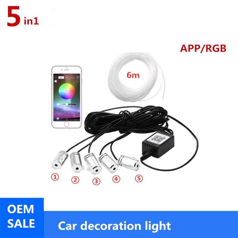5 in 1 6M RGB Fiber Optic Atmosphere Lamps Car Interior Ambient Light Decorative Dashboard Door Remote Control or App Control
